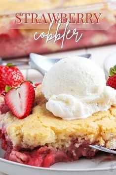 This Strawberry Cobbler Recipe is a classic southern dessert. Sweet and tart with a cake-like topping. It's the perfect summer treat! Strawberry Cobbler, Blueberry Cobbler, Ice Cream Cookie Sandwich, Ice Cream Cookies, Dirt Cake Recipes, Cookie Recipes, No Bake Desserts, Dessert Recipes, Cheesecake Cups