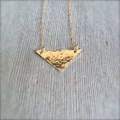 Gold Filled Triangle Necklace - Hammered Minimalist Jewelry - Layering Necklaces by MuffyandTrudy on Etsy