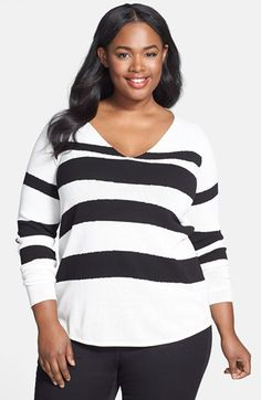 Anne Klein V-Neck Intarsia Sweater (Plus Size) available at #Nordstrom