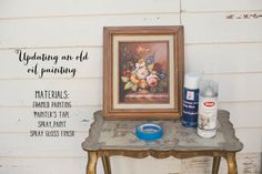 A cute idea to make an old painting more personal! Uses spray gloss.