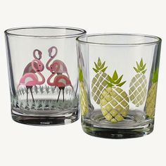 Pineapple and flamingo glasses from Asda - May 2014 (Domestic Sluttery)