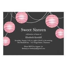 Gray & Pink Party Lantern Sweet 16 Invitation