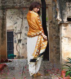 Gajji Silk Bandhani Odhani with 100 Year Old Bagh Embroidery