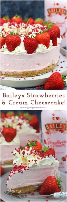 Baileys Strawberries & Cream Cheesecake – Jane's Patisserie Baileys Strawberries & Cream Cheesecake! A delicious No-Bake Cheesecake made with the new Baileys Strawberries & Cream! Baileys Torte, Baileys Cheesecake, Baked Cheesecake Recipe, Cheesecake Desserts, No Bake Desserts, Just Desserts, Dessert Recipes, Strawberry Cheesecake Recipes, Summer Cheesecake