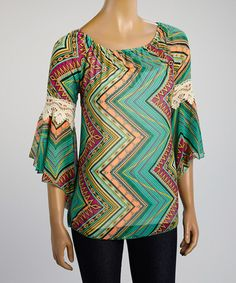 Another great find on #zulily! Teal Zigzag Crochet Scoop Neck Top by R Rouge #zulilyfinds
