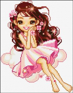 pink fairy free cross stitch chart