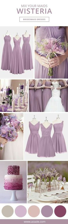 not my ideal wedding colors but super pretty Azazie is the online destination for special occasion dresses. Our online boutique connects bridesmaids and brides with over 400 on-trend styles, where each is available in colors. Lilac Wedding, Trendy Wedding, Dream Wedding, Wedding Day, Diy Wedding, Wisteria Wedding, Wedding Rings, Mermaid Wedding, Summer Wedding