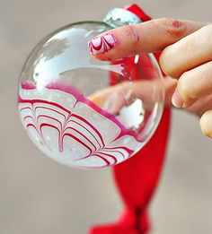 Clever and Cool Holiday Décor Projects: Peppermint Marbled Ornaments (via Parents.com)