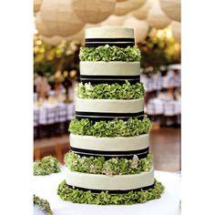 Brides: Wedding Cake with Green Hydrangeas. Lush hydrangeas were layered between all five tiers of the wedding cake.