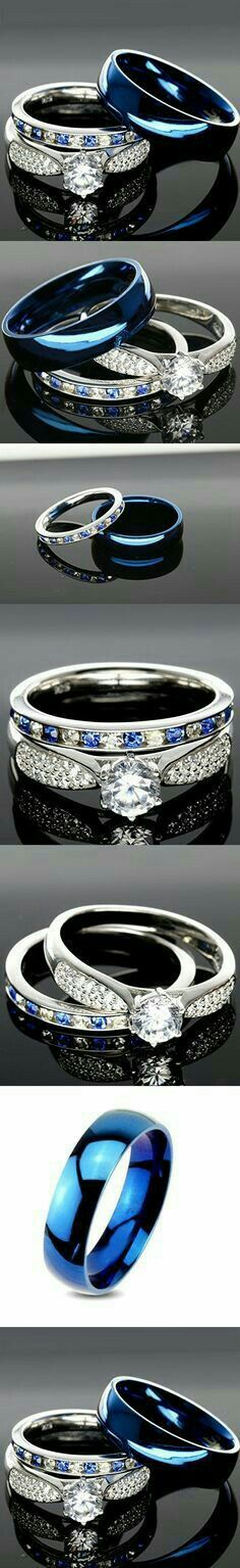 925 Sterling Silver Blue Saphire Stainless Steel Wedding Rings