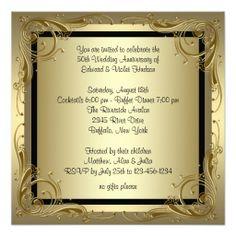 Wedding invitations for a 50th wedding anniversary 50th wedding elegant gold 50th wedding anniversary party invitation filmwisefo