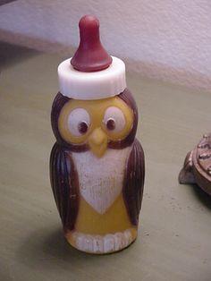 Vintage Evenflo Owl Plastic Baby Bottle.