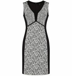 A fantastic dress for a number of reasons: 1. The upside down V waist definition creates the waist you need. 2. it makes the eye wander up and make your legs look taller 3. the black sides makes you look 2 dress sizes slimmer 4. the pattern will hide any extra flesh on your stomach or extra big bust. http://styleangel.com/discover-body-shape/