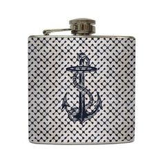 Retro Navy Nautical Anchor Flask Ocean Beach Wedding Groomsmen Birthday Gift Stainless Steel 8 oz or 6 oz Liquor Hip Flask LC-1003