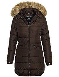 Navahoo Damen Winter Jacke Steppmantel Parka langer Mantel warm gefüttert B359