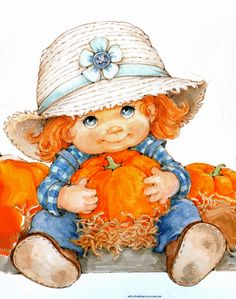 Ruth Morehead - cute little girl with pumpkin