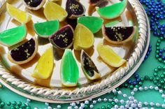 It's Fat Tuesday, and what better way to celebrate than with Mardi Gras themed Jello shots? No matter where you are, throw on some beads, make some jello shots and star in your own version of Carnaval! Bachelorette Party Drinks, Crawfish Party, Jelly Shots, Jello Shot Recipes, Mardi Gras Party, Party Food And Drinks, Everyday Food, Summer Recipes, Fudge