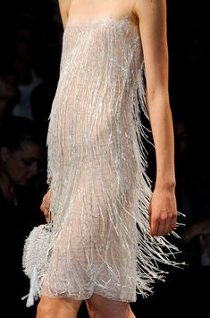 #Gatsby #Glamour #TresChic dress adorned with swinging pearl feathers- Alberta Ferretti Spring 2013