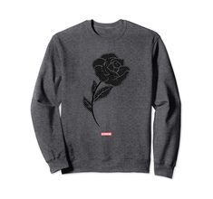 Genuine By Anthony Black Rose Sweatshirt Amazon Prime Delivery, Heather Grey, Rose, Sweatshirts, Sweaters, Cotton, Black, Fashion, Moda