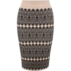 Lace Circle Jacquard Pencil Skirt Alexander McQueen (47.835 RUB) ❤ liked on Polyvore featuring skirts, lace pencil skirt, brown skirt, lace circle skirt, lace skirt and knee length lace skirt