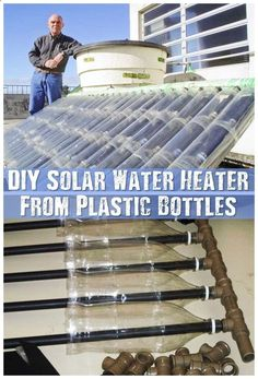 DIY Solar Water Heater From Plastic Bottles - Make a solar water heater from a pile of plastic bottles and cartons. This is great for the… #DIYSolarWater