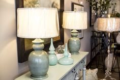 Pair of teal lamps with textured finish.  Robin's Nest Interiors - Louisville Interior Design & Home Accessories Boutique located in the heart of Middletown, KY.