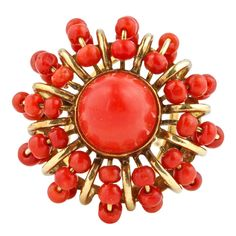 Sunburst Coral Gold Ring | From a unique collection of vintage fashion rings at http://www.1stdibs.com/jewelry/rings/fashion-rings/