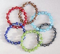 Polka Dot Beaded Swarovski Crystal Bracelets - 6 colors to choose from! by SparkleBunnyFrouFrou on Etsy