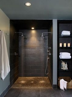 Doorless Shower Designs Teach You How To Go With The Flow Bathroom Spa Bathroom Design, Pictures, Remodel, Decor and Ideas - page nachher Verweis Badezimmer Aufbewahrungslö. Spa Bathroom Design, Spa Design, Bathroom Spa, Bathroom Renos, House Design, Basement Bathroom, Design Ideas, Bathroom Remodeling, Remodeling Ideas