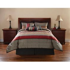 Mainstays 7 Piece Comforter Set, Preston, Black