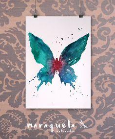 Butterfly Original Watercolor - Art decor, handmade, watercolor, painting, butterfly. Mariposa hecha a mano.Técnica acuarela.ORIGINAL.