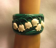 Carved From Vintage Bakelite Lilies of the Valley Bracelet Bangle Flower Elfrink