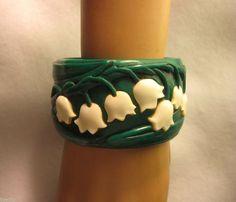 Carved From Vintage Bakelite Lilies of the Valley Bracelet Bangle Flower Elfrink from Elvenkrafte Studios