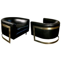 Pair of Rare Milo Baughman Bronze Cantilevered Barrel Chairs | From a unique collection of antique and modern lounge chairs at https://www.1stdibs.com/furniture/seating/lounge-chairs/