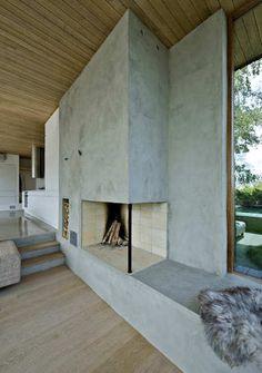 concrete fireplace wall.