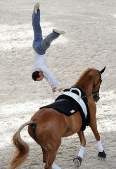 FRANCE: Equestrian vaulting champion, French Nicolas Andreani (on his horse Juste a Kiss HN)