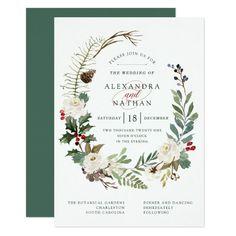 Botanical Christmas   Holiday Wedding Card Customizable Invitations #beach #summer #wedding #invitation #weddinginvitation
