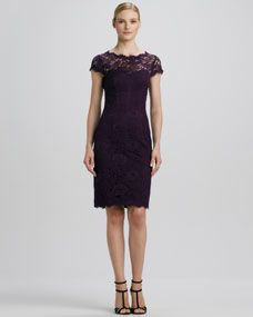 Lace Boat-Neck Cocktail Dress with Open Back