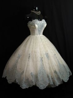 ~Vintage 1950's 50s STRAPLESS Ivory Blue Chiffon Organza Party Prom Wedding DRESS~