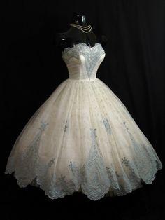 ~Vintage 1950's 50s STRAPLESS Ivory Blue Chiffon Organza Party Prom Wedding DRESS~