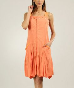 Love this Apricot Zip-Up Button Pocket Shift Dress by L33 by Virginie&Moi on #zulily! #zulilyfinds