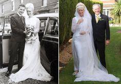 Casal comemora Bodas de Ouro usando a mesma roupa que vestiu no dia do casamento, nos anos 60