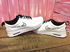aaf7de2b79 Blinged Womens Nike Air Max Thea Running Shoes by ShopPinkIvy