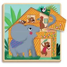 3 Schichten Puzzle, Legepuzzle, Cabana, ab 2 Jahren, von Djeco