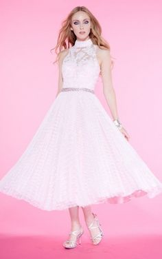 Sparkling High Neck Tulle Sleeveless Prom Dresses,Graceful Prom Dresses,Prom Dresses
