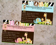 Jungle Baby Shower BOY & GIRL  Invitations