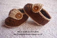 Arte em crochet por Lívia Costa: Mocassim para meninos