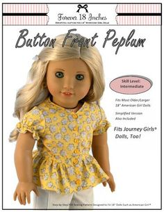 Forever 18 Inches Button Front Peplum Doll Clothes Pattern 18 inch American Girl Dolls | Pixie Faire