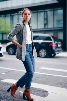 grey check blazer, white t-shirt, crop flare jeans, brown sock booties - Fall outfits, fall fashion trends 2017, fall trends 2017, grey blazer outfits, check blazer outfits, plaid blazer outfits, glen plaid blazer, prince of wales blazer, street style, casual outfits.