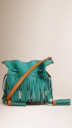 Dark teal Canvas Check Leather Crossbody Bag with Fringe - Image 1